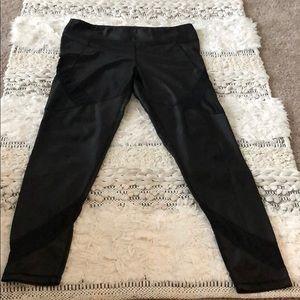 Black Leggings with Mesh Cutouts
